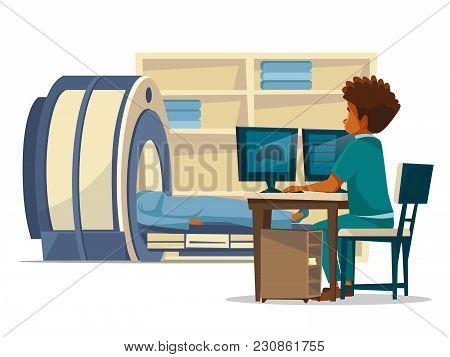 Brain Mri Hospital Vector Cartoon Illustration Of Doctor And Patient On Medical Examination. Flat De