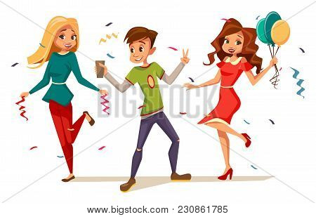 Young Teens Dancing At Party Vector Illustration Of Cartoon Kids Isolated Characters Celebrating Bir