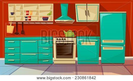 Modern Kitchen Interior Vector Illustration. Cartoon Flat Background Design Of Kitchen Furniture And