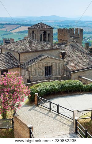 GRADARA, ITALY - JUNE 16, 2017: Landscape viewed from Gradara castle. The Gradara Castle dates back to the period between 11th and 15th centuries