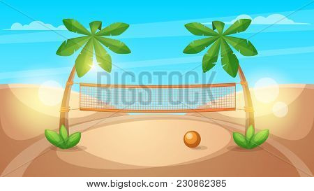 Beach Volleyball Illustration. Cartoon Landscape. Vector Eps 10