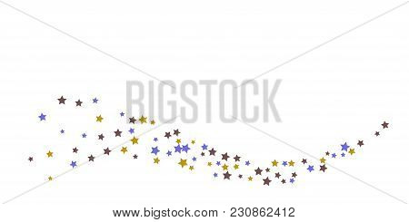 Abstract Flying Confetti Star. A Falling Star Background. Random Stars Shine On A White Background.
