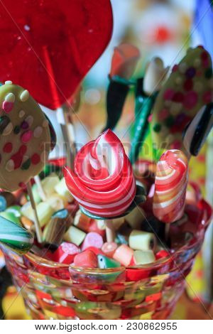 Lollipop Background. Colorful Lolly Pops Wrapped In Cellophane.