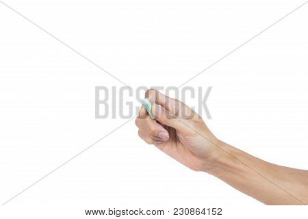 Hand Holding Chalk Writing Something Text On Empty Space. Isolated On White Background With Clipping