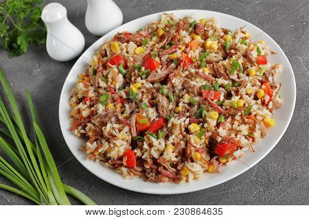 Shredded Juicy Beef, Rice, Veggies On Plate
