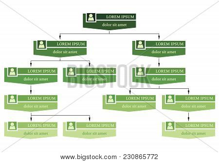 Green Business Structure Concept, Corporate Organization Chart Scheme With People Icons. Vector Illu