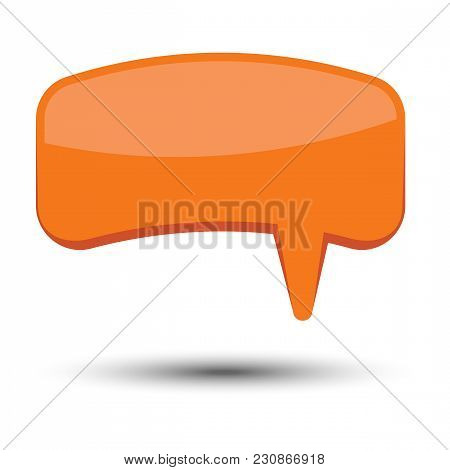 Orange Cartoon Comic Balloon Speech Bubble Without Phrases And With Shadow. Vector Illustration.