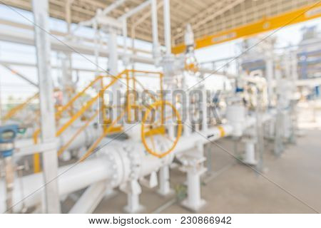 Blurred Of Industrial Zone,gas Metering Station And Pipeline At Power Plant
