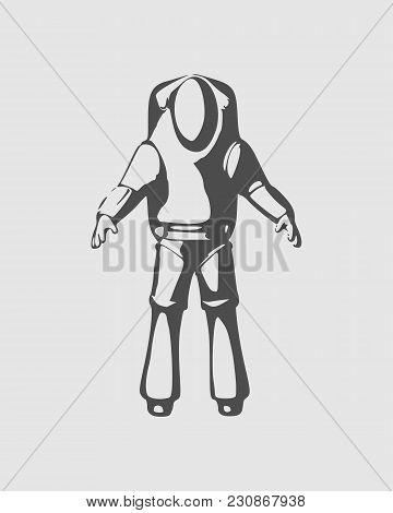 Astronaut In Spacesuit. Monochrome Silhouette. Fantastic Person