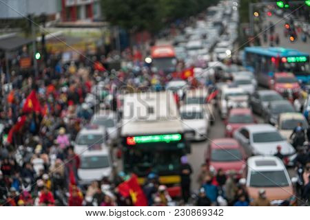 Blurred Background Of Crowd Of Vietnamese Football Fans Down The Street To Celebrate The Win After S