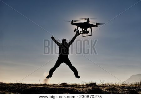 Drone First Test And Flying Man From Happiness