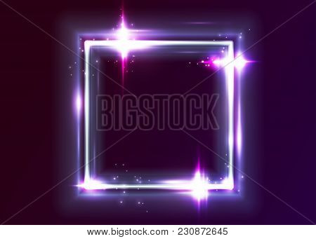 Vector Neon Rectangle Frame. Shining Square Shape With Vibrant Electric Blue, Pink, Violet Colors. L