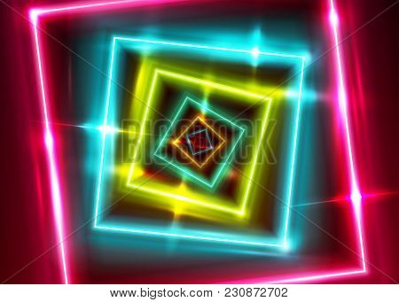 Vector Neon Rectangle Frame. Shining Square Shape With Vibrant Ultraviolet Colors. Led Light Effect.