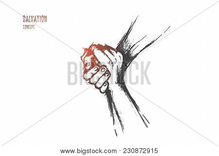Salvation Concept. Hand Drawn Helping Hand Outstretched For Salvation Two Hands United In A Handshak