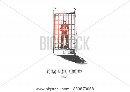 Social Media Addiction Concept. Hand Drawn Person In Jail Of Internet. Man Slave Of His Smartphone I
