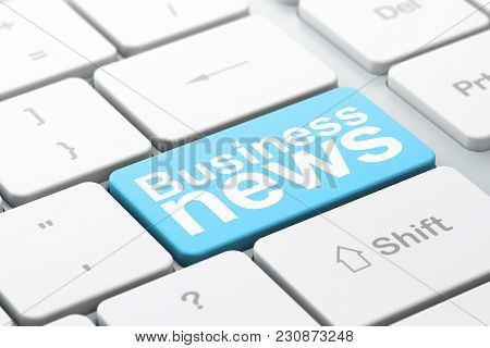 News Concept: Computer Keyboard With Word Business News, Selected Focus On Enter Button Background,