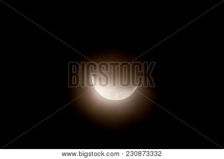 Half Moon On A Dark Starless Sky.