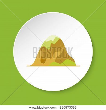 Rounded Hill Icon In Flat Style. Mountain Symbol On Round Button.