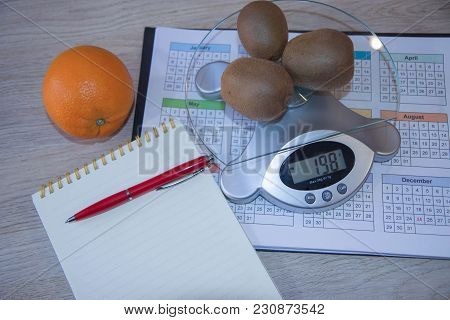 Fruits And Vitamins With Measuring Tape. Ealthy Eating, Dieting, Slimming And Weigh Loss Concept