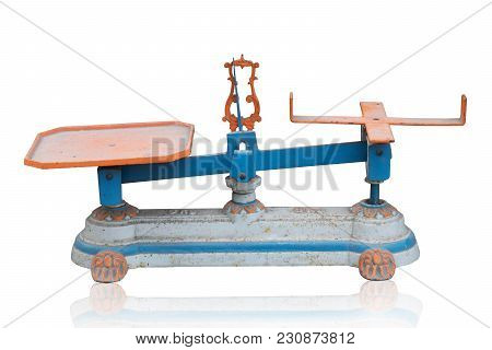 Side View Di Cut Ancient Weighing Scale On White Background,object,copy Space
