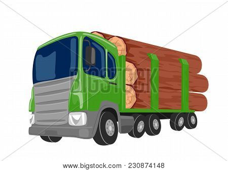 Logging Truck Transporting Large Logs Isolated On A White Background