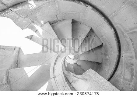 Background Architecture. Details Of Helical Staircase In Tomar, Portugal. Spiral Staircase In Claust