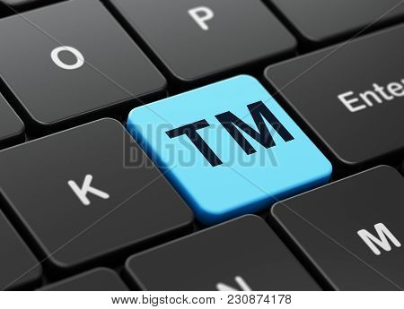 Law Concept: Computer Keyboard With Trademark Icon On Enter Button Background, 3d Rendering