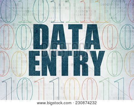 Information Concept: Painted Blue Text Data Entry On Digital Data Paper Background With Binary Code