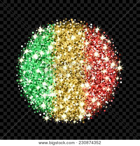 Republic Of Mali Flag Sparkling Badge. Round Icon With Malian National Colors With Glitter Effect. B