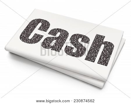 Money Concept: Pixelated Black Text Cash On Blank Newspaper Background, 3d Rendering