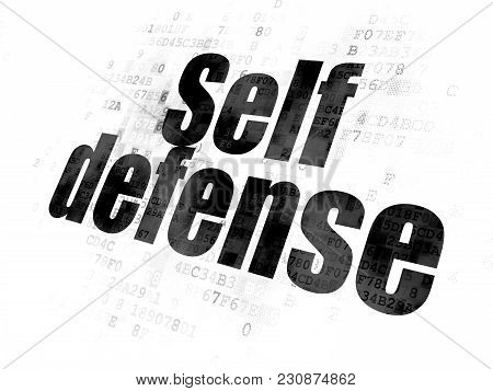Privacy Concept: Pixelated Black Text Self Defense On Digital Background