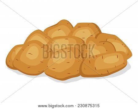 Pile Heap Of Unpeeled Potatoes Isolated On A White Background. Potato Tuber On Flat Style. Set Veget