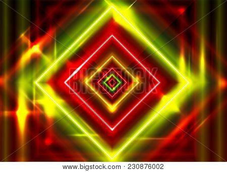 Crazy Vector Neon Rectangle Frame. Shining Square Shape With Vibrant Ultraviolet Green And Red Color