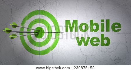 Success Web Design Concept: Arrows Hitting The Center Of Target, Green Mobile Web On Wall Background