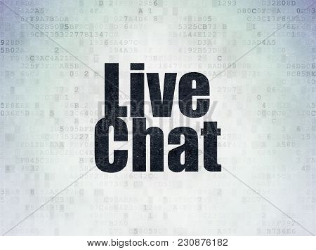 Web Development Concept: Painted Black Word Live Chat On Digital Data Paper Background