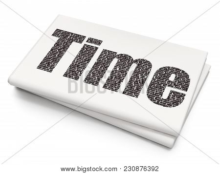 Time Concept: Pixelated Black Text Time On Blank Newspaper Background, 3d Rendering