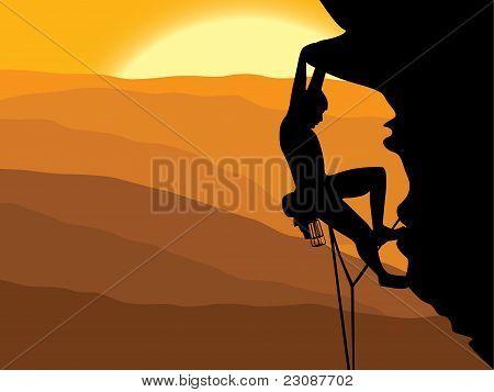 vector illustration of a man climbing a mountain poster