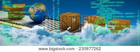 Blue program against idyllic view of white cloudscape against sky