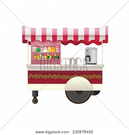 Street Counter, Stall, Street Trading. Firm Counter Under A Canopy, On Wheels, Selling Of Hot Drinks