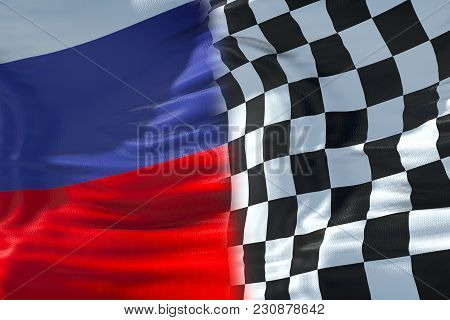 Half Flags Of Checkered Flag, End Race And Half Russia Federation Flag, Russian Sport Formula One Co