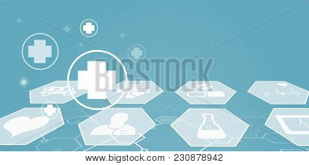 Several icon with sign against digital background with emergency sign