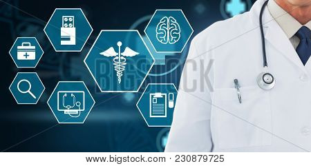 Doctor wearing lab coat against digital background with dna helix and emergency sign