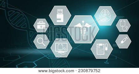 Several icon with sign against digital background with dna helix