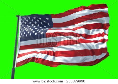 3D Rendering, American Usa Flag With Pole, Stars And Stripes, United States Of America On Chroma Key