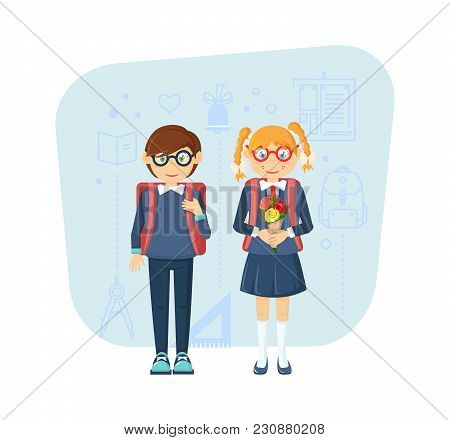 Modern Knowledge, Learning, Education In School, University. Young Children Pair, Boy And Girl, In S