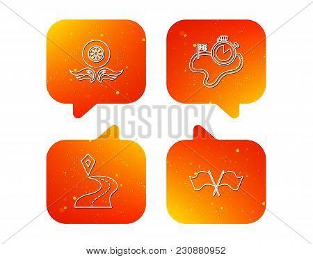 Race Flags, Timer And Destination Pointer Icons. Wheel On Fire Linear Sign. Orange Speech Bubbles Wi