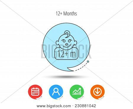 Baby Face Icon. Newborn Child Sign. Use Of Twelve Months And Plus Symbol. Calendar, User And Busines
