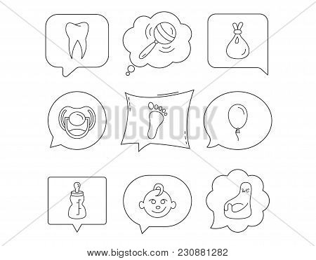 Pacifier, Baby Boy And Bottle Icons. Tooth, Footprint And Wc Toilet Linear Signs. Rattle, Air Balloo