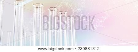 genes diagram on white background against test tube with chemical solution