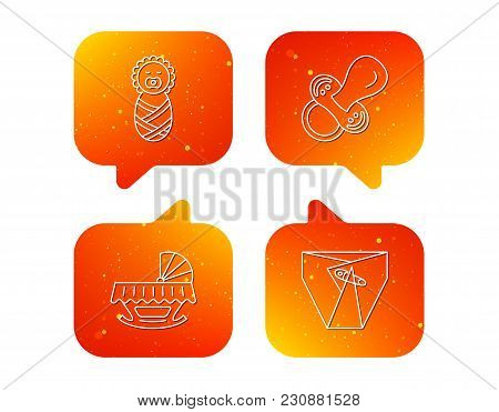 Pacifier, Newborn And Diapers Icons. Cradle Bed Linear Sign. Orange Speech Bubbles With Icons Set. S